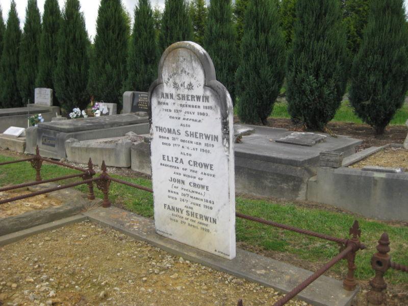Yan Yean Cemetery Ann & Thomas Sherwin Headstone